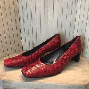 Stuart Weitzman Red Leather Snakeskin Print Heel
